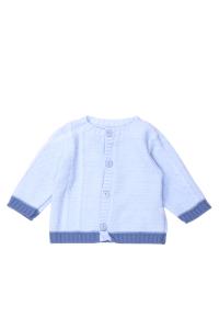 Niebieski sweterek z ciemną oblamówką