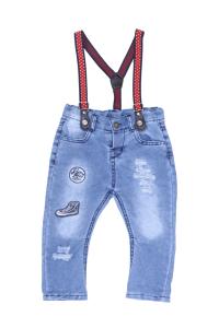 Jeansy z czerwonymi szelkami
