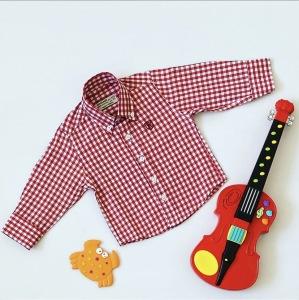 Koszula w czerwoną kratkę z długim rękawem dla chłopczyka 56-92 cm