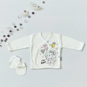 Bluzka rabbit + niedrabki z długim rękawem dla dziewczynki 56-92 cm