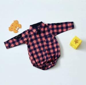 W kratkę koszula - body z długim rękawem dla chłopczyka 56-92 cm