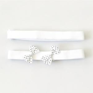 Białe opaski z kokardką - dwupak