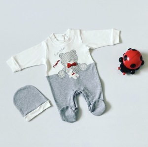Pajac orsetto + czapka dla chłopczyka 56-92 cm