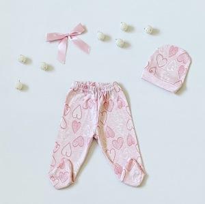 Półśpiochy pink love + czapeczka dla dziewczynki 56-92 cm