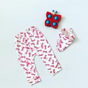 Spodnie pinki + apaszka dla dziewczynki 56-92 cm