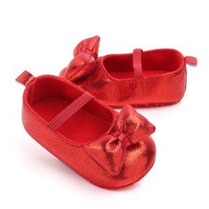 Buciki niemowlęce czerwone dla dziewczynki