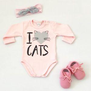 Różowe body cats z długim rękawem dla dziewczynki 56-92 cm