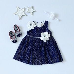 Sukienka dark blue dla dziewczynki 56-92 cm