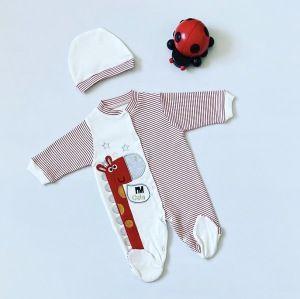Pajac dino + czapka dla chłopczyka 56-92 cm