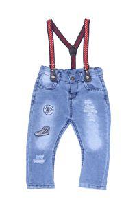 Jeansy z czerwonymi szelkami dla dziewczynki 56-92 cm