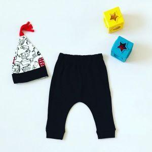 Spodnie frędzel + czapka dla chłopczyka 56-92 cm