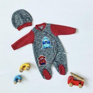 Pajac red monster + czapka dla chłopczyka 56-92 cm