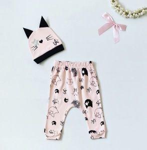 Spodnie pink cat + czapeczka dla dziewczynki 56-92 cm