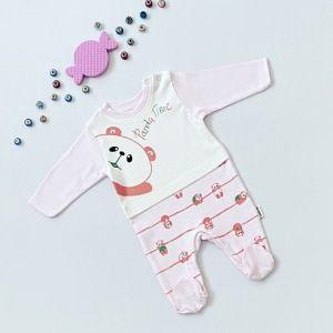 Pajac pink panda dla dziewczynki 56-92 cm