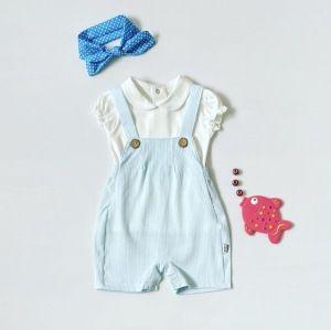 Ogrodniczki błękitek z krótkim rękawem dla dziewczynki 56-92 cm