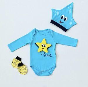Body blue star + czapka z długim rękawem dla chłopczyka 56-92 cm