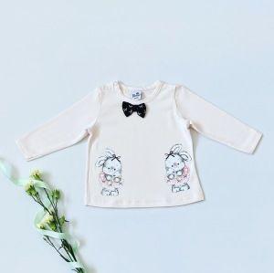 Bluzka kokardka z długim rękawem dla dziewczynki 56-92 cm