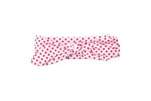 Biała opaska w czerwone kropeczki dla dziewczynki
