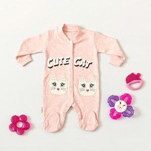Pajac cute cat dla dziewczynki 56-92 cm