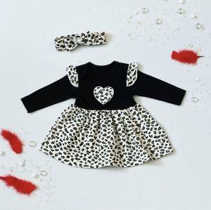 Sukienka pantera + opaska dla dziewczynki 56-92 cm