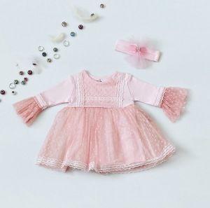 Sukienka pink + opaska dla dziewczynki 56-92 cm