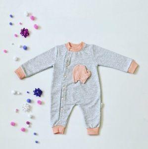 Rampers różowy słonik z długim rękawem dla dziewczynki 56-92 cm