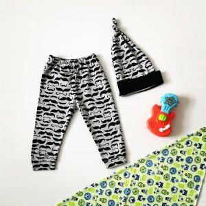 Spodnie z wąsem + czapka dla chłopczyka 56-92 cm
