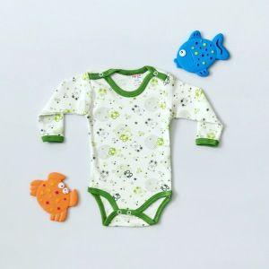 Body teddy green z długim rękawem dla chłopczyka 56-92 cm