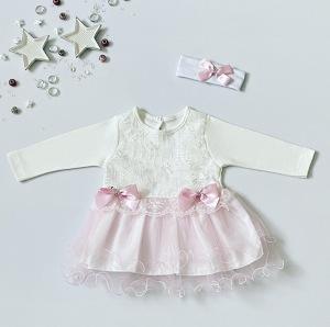 Sukienka Zuzan + opaska dla dziewczynki 56-92 cm