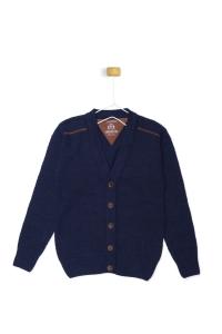 Granatowym sweterek z brązowym akcentem