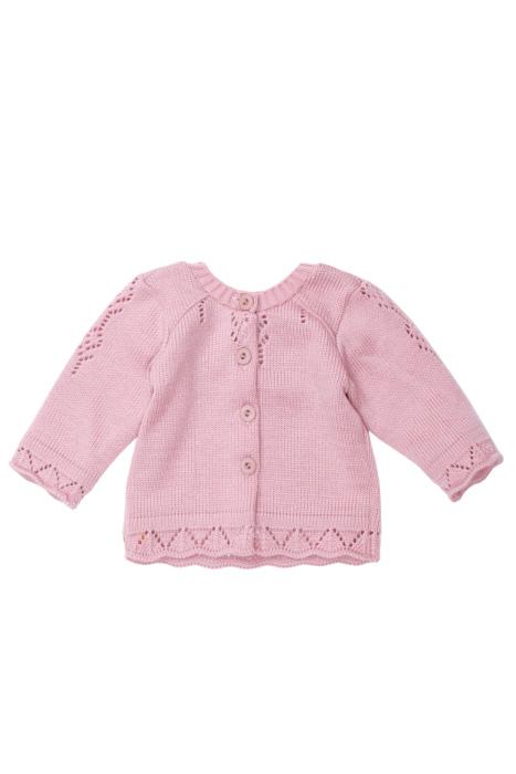 Różowy sweterek z ażurowymi wzorkami