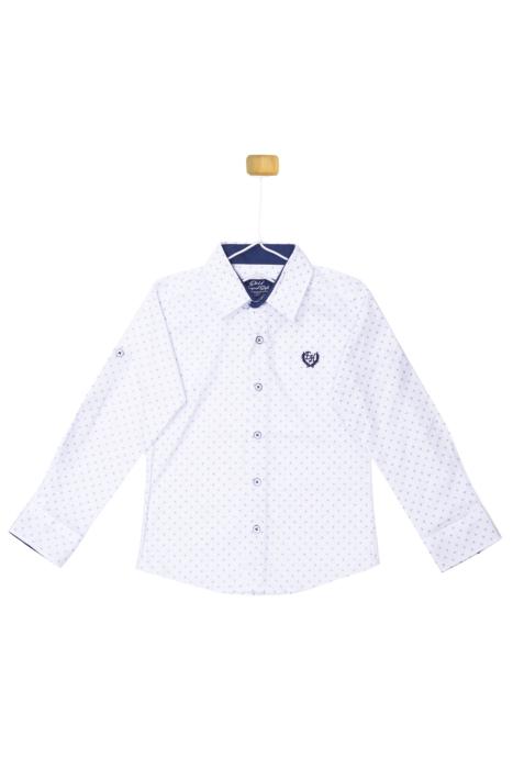 Biała koszula z niebieskim akcentem