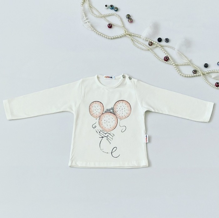 Bluzka balonik z długim rękawem dla dziewczynki 56-92 cm