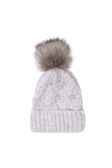 Beżowa czapka z pomponem