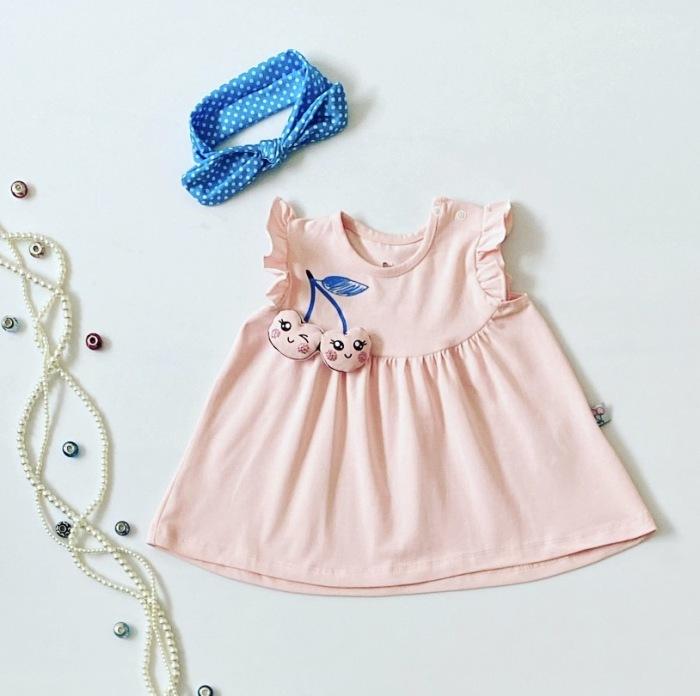 Bluzka pink cherry z krótkim rękawem dla dziewczynki 56-92 cm