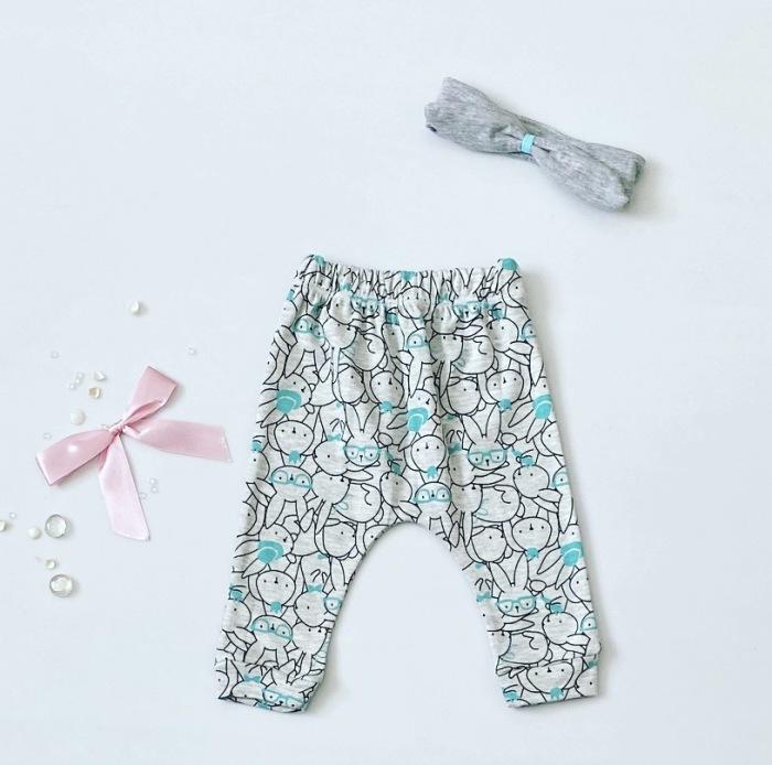 Spodnie mint bunny dla dziewczynki 56-92 cm