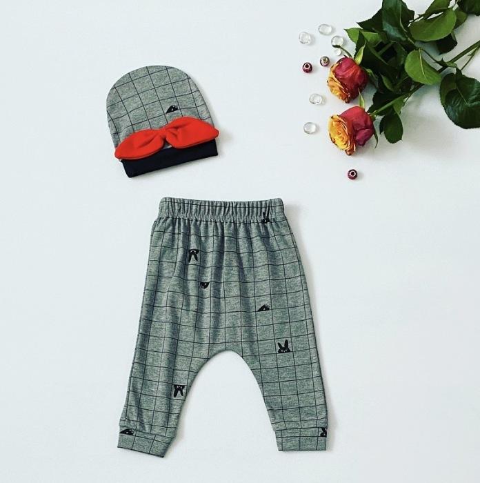 Spodnie czerwona kokarda + czapeczka dla dziewczynki 56-92 cm