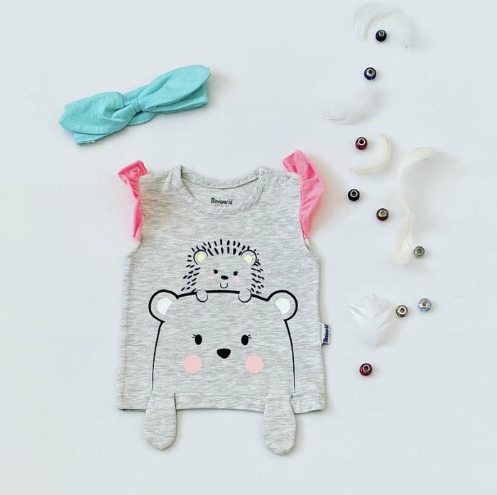 T-shirt neon dla dziewczynki 56-92 cm