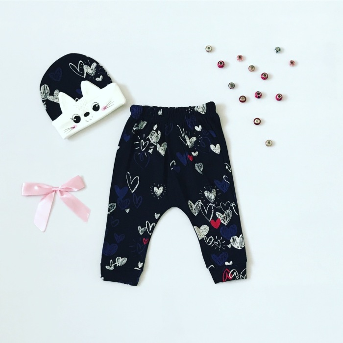 Spodnie lovely + czapeczka dla dziewczynki 56-92 cm