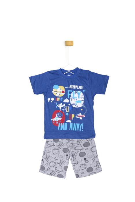Niebieska koszulka z szarymi spodenkami - komplet