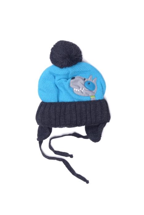 Niebieska czapka z pieskiem