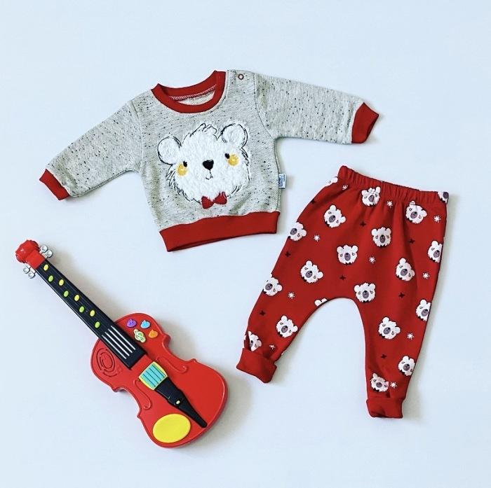 Komplet red teddy dla chłopczyka 56-92 cm