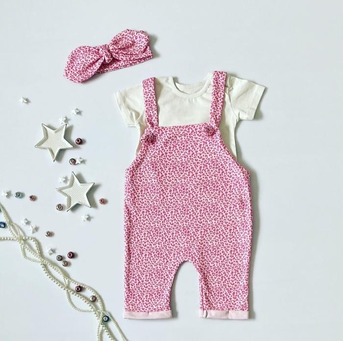 Ogrodniczki pink pantera z opaską dla dziewczynki 56-92 cm