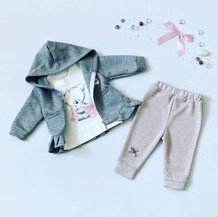 Komplet różowy miś dla dziewczynki 56-92 cm