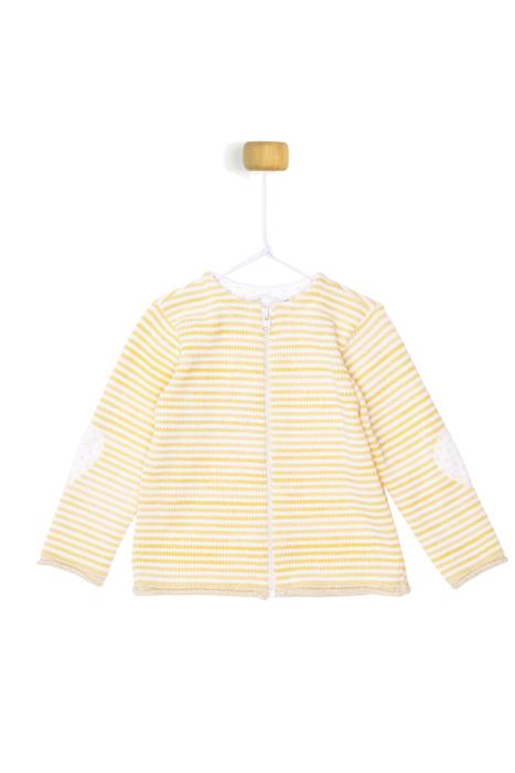 Żółty sweterek w białe paseczki