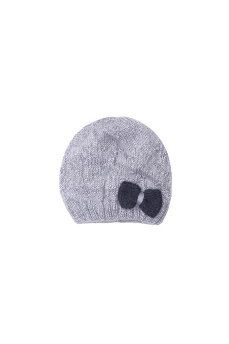 Szara czapka z kokardką