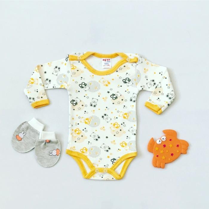 Body teddy żółty z długim rękawem dla dziewczynki 56-92 cm