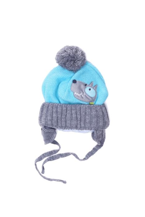 Błękitna czapka z pieskiem