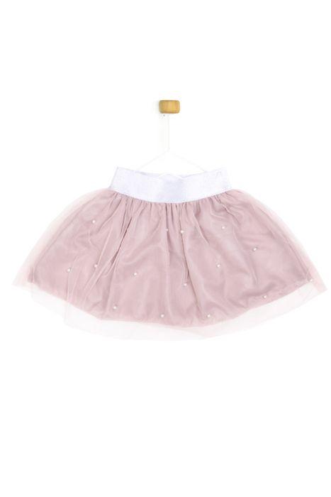 Pudrowy róż spódniczka z perełkami