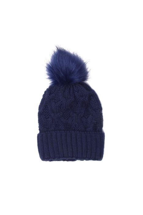 Granatowa czapka z pomponem